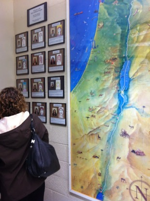 An Israel map (and photos of each teacher) takes center stage